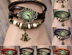 Women's Quartz Bell Pendant Weave Wrap Synthetic Leather Bracelet Wrist Watch Cndirect bester Fashion-Online-Shop China