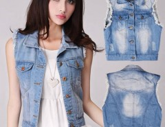 Women's Retro Washed Sleeveless Personalized Cardigan Denim Vest Waistcoat Jacket Cndirect bester Fashion-Online-Shop China