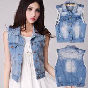 Women's Retro Washed Sleeveless Personalized Cardigan Denim Vest Waistcoat Jacket Cndirect bester Fashion-Online-Shop China
