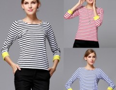 Women's Round Neck Stripe 3/4 Sleeve T-Shirt Tops Blouse FINEJO Cndirect bester Fashion-Online-Shop China
