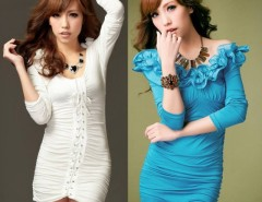Women's Sexy Long Sleeve Ruffled Collar Lace Up Hip-length Cocktail Party Dresses Cndirect bester Fashion-Online-Shop China