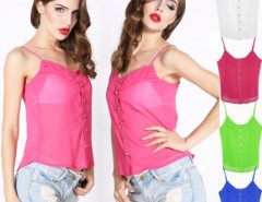 Women's Sexy Style Candy Color Blouse Chiffon Strap Vest Shirts Tops Cndirect bester Fashion-Online-Shop China