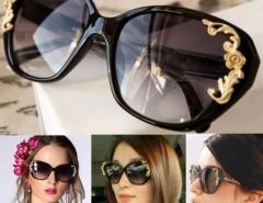 Women's Vintage Gold-tone Roses Carving Oversize Black Frame Sunglasses Cndirect bester Fashion-Online-Shop China