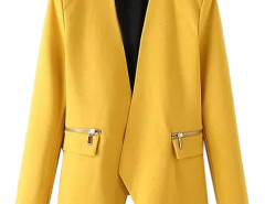 Yellow Collarless Open Front Asymmetric Zipper Detail Slim Blazer Choies.com bester Fashion-Online-Shop Großbritannien Europa