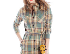 Yellow Contrast Plaid Print Belt Waist Longline Shirt Choies.com bester Fashion-Online-Shop Großbritannien Europa