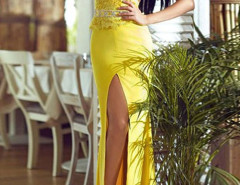 Yellow Lace Top Cap Sleeve Sheer Back Thigh Split Maxi Dress Choies.com bester Fashion-Online-Shop Großbritannien Europa