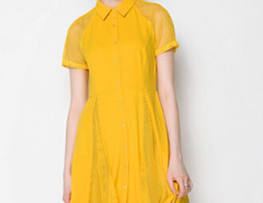 Yellow Mesh Insert Short Sleeve Midi Shirt Dress Choies.com bester Fashion-Online-Shop Großbritannien Europa