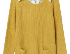 Yellow Pocket Front Ribbed Knit Jumper And White Shirt Vest Lining Choies.com bester Fashion-Online-Shop Großbritannien Europa