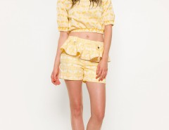 Yellow and Cream Peplum Biba Shorts Carnet de Mode bester Fashion-Online-Shop
