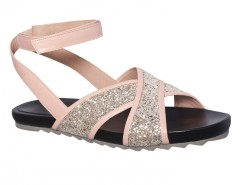 Yui Platinum Pink Flatform Criss Cross Sandals Carnet de Mode bester Fashion-Online-Shop