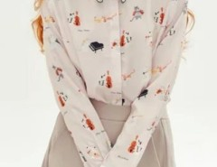 Adorable Cat Print Long Sleeve Button Down Shirt OASAP bester Fashion-Online-Shop aus China