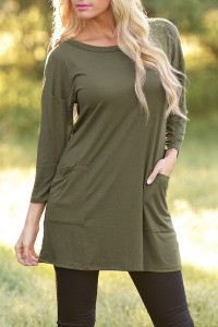 Army Green Button Back Round Neck Trapeze Dress OASAP bester Fashion-Online-Shop aus China