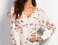 Beige Graphic Long Sleeves Chiffon Blouse OASAP bester Fashion-Online-Shop aus China
