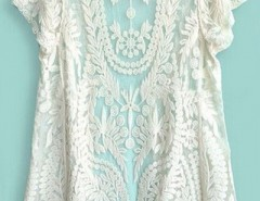 Beige Short Sleeve Crochet Net Lace Cardigan OASAP bester Fashion-Online-Shop aus China