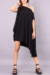 Black Oblique Neck Sleeveless Asymmetrical Dress OASAP bester Fashion-Online-Shop aus China