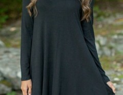Black V Neck Long Sleeve Stretch Knit Trapeze Dress OASAP bester Fashion-Online-Shop aus China