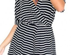 Black White Striped Surplice Rompers OASAP bester Fashion-Online-Shop aus China