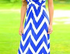 Blue Chevron Print Strapless Maxi Dress OASAP bester Fashion-Online-Shop aus China