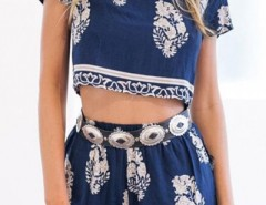 Bohemian Boxy Crop Top Shorts Matching Sets OASAP bester Fashion-Online-Shop aus China