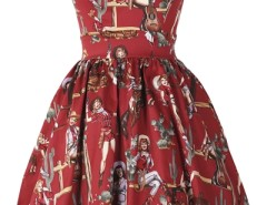 Burgundy High-Waisted Graphic Western Girls Princess Dress OASAP bester Fashion-Online-Shop aus China