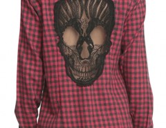 Burgundy Plaid Hollow-out Lace Skull Pattern Shirts OASAP bester Fashion-Online-Shop aus China