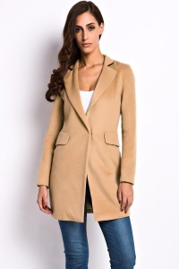 Camel Slim Lapel Woolen Coat OASAP bester Fashion-Online-Shop aus China