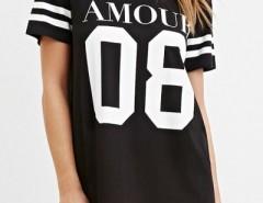 Casaul Figure Letter Print Short Sleeve Mini Shift Dress OASAP bester Fashion-Online-Shop aus China
