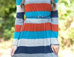 Casual Color Block Long Sleeve Striped Dress OASAP bester Fashion-Online-Shop aus China