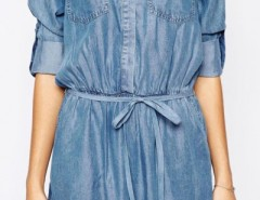 Casual Solid Denim Mini Shirt Dress OASAP bester Fashion-Online-Shop aus China