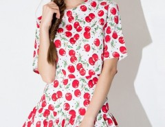 Cherry Graphic Crop Tee Skirt Set OASAP bester Fashion-Online-Shop aus China