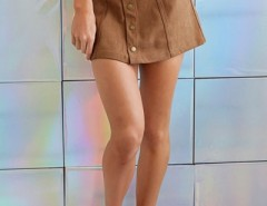 Chic Faux Suede Button Front Skirt OASAP bester Fashion-Online-Shop aus China