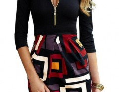 Chic Geo-Print Zip Front Combo Dress OASAP bester Fashion-Online-Shop aus China