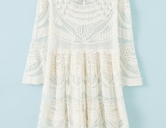 Chic Ivory Sheer Floral Lace Print Dress OASAP bester Fashion-Online-Shop aus China
