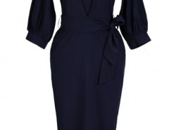Chic Lantern Sleeve Belted Slim Fit Midi Dress OASAP bester Fashion-Online-Shop aus China