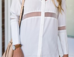 Chic Mesh Asymmetrical Button Down Shirt OASAP bester Fashion-Online-Shop aus China