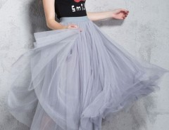 Chic Mesh Layered Skirt Elastic Waist Maxi Skirt OASAP bester Fashion-Online-Shop aus China