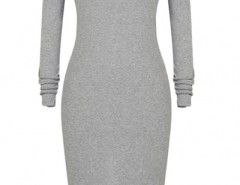 Chic Simple Color Long Sleeve Body-con Dress OASAP bester Fashion-Online-Shop aus China