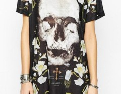 Chic Skull Print Round Neck Loose Fit Dress OASAP bester Fashion-Online-Shop aus China
