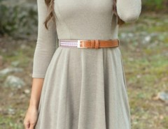 Chic Solid Color Knit Pullover A-Line Dress OASAP bester Fashion-Online-Shop aus China