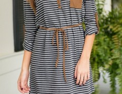 Chic Striped Long Sleeve Cut-out Neck Belted Dress OASAP bester Fashion-Online-Shop aus China