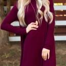 Classic Mock Neck Long Sleeve Asymmetric Trapeze Dress OASAP bester Fashion-Online-Shop aus China