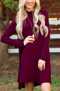 Classic Mock Neck Long Sleeve Asymmetric Trapeze Dress OASAP bester Fashion-Online-Shop aus China