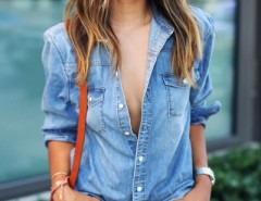 Classic Stand Collar Button Down Denim Shirt OASAP bester Fashion-Online-Shop aus China
