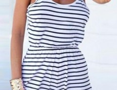 Classic Striped Print Cami Rompers OASAP bester Fashion-Online-Shop aus China
