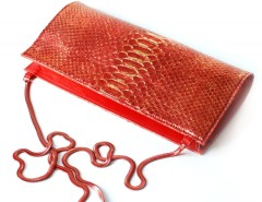 clutch - Laminated gold red python Carnet de Mode bester Fashion-Online-Shop
