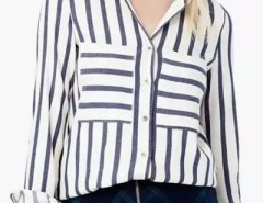 Color Block Stripe Breasted Pocket Button Down Shirt OASAP bester Fashion-Online-Shop aus China