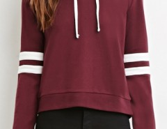 Color Block Stripe Drawstring Knit Hooded Sweatshirt OASAP bester Fashion-Online-Shop aus China
