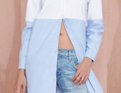 Contrast Collor Swallow Tail Boyfriend Shirt OASAP bester Fashion-Online-Shop aus China