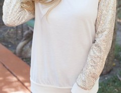 Cream Sequin Paneled Round Neck Sweatshirt OASAP bester Fashion-Online-Shop aus China