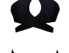 Crossover Halter Neck Hollow-out Black Bikini OASAP bester Fashion-Online-Shop aus China